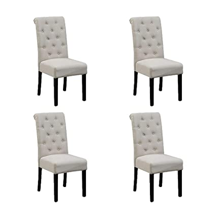 Amazon.com - HomeSailing Set of 4 Beige Dining Room Chairs ...
