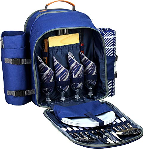 Deluxe Picnic Blanket - Picnic Backpack Set for 4 - Deluxe Collection | Picnic Set with Insulated Cooler Compartment, Fleece Blanket, Detachable Wine Holder, Cutlery Set for Family/Friends Camping, Road Trip, Hike, Adventure