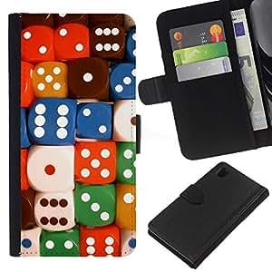 """[Neutron-Star] Modelo colorido cuero de la carpeta del tirón del caso cubierta piel Holster Funda protecció Para Sony Xperia Z1 L39 [Dados Número colorido juego de cartas Poker""""]"""