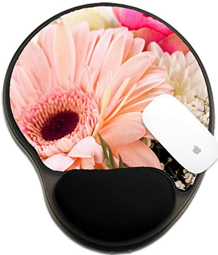 Luxlady Mousepad wrist protected Mouse Pads/Mat with wrist support design IMAGE ID: 25588061 Bouquet of fresh pink and white flowers with a gerbera daisy dahlia and roses in a close up view as a Dahlia Dishes