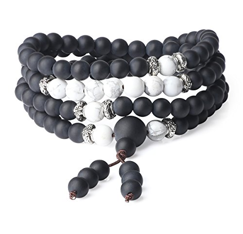 Price comparison product image AmorWing 6mm Onyx Howlite Genuine Stones 108 Stone Beaded Mala Bracelet Necklace