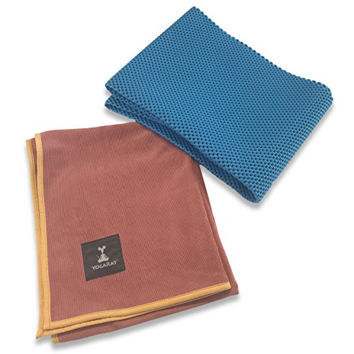 Waffle Yoga Mat & Cush Yoga Towel Set – Foldable Yoga Mat Comes With Super Thick Yoga Mat Towel  – For All Yoga Practices – Ideal for Hot Yoga – Great Travel Yoga Mat – 24″ x 72″ x 5mm