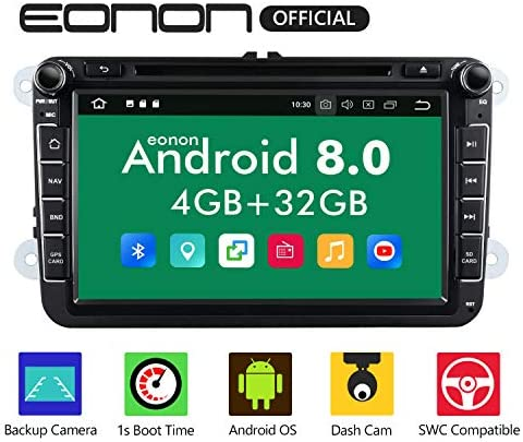 Head Unit Android Auto,Eonon Dual Bluetooth Android 8.0 Car Apple CarPlay Car Radio Applicable to Volkswagen SEAT Skoda 4GB RAM 32GB ROM Octa-Core 8 Inch with Fastboot-GA9153A