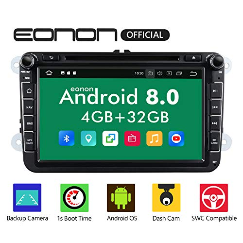 Eonon Android Auto Car Stereo, Dual Bluetooth Android 8.0 Car Android Auto and Apple CarPlay Head Unit Applicable to Volkswagen/SEAT/Skoda 4GB RAM+32GB ROM Octa-Core 8 Inch with Fastboot-GA9153A