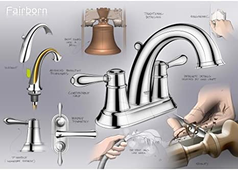 Grohe 20 424 Fairborn Centerset Bathroom Faucet with SilkMove/® Free Metal Pop- Starlight Chrome