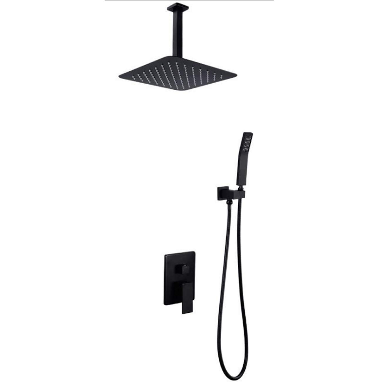 Concealed Shower Mixer Set for Bath Dual Control Shower System with Square Top Shower + Handheld Shower Head + Brass Diverter,Ceiling Type,10inch