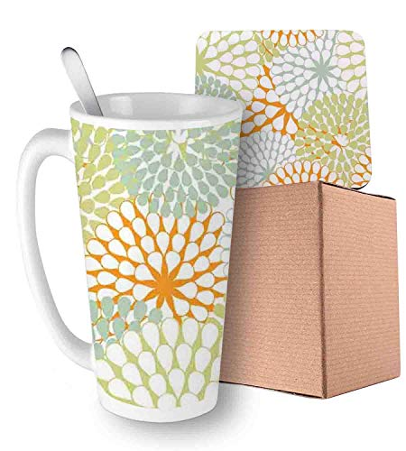 Abstract Hydrangea Flowers Pattern Retro Style Botany Ornament Almond Green Pale Green Orange Ceramic Cup with Spoon & Coaster Creative Morning Mug Milk Coffee Tea Unique Porcelain Cup Mug 16oz ()