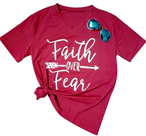 Faith Over Fear Arrow Letters Print V Neck T Shirt Women Casual Blouse Tops Tees Size X-Large (Wine Red) (V-neck T-shirt Arrow)