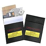 2 Pcs Fire Resistant Document Bag,CBTONE Lipo Battery Fireproof Bag Storage Guard Safe Sleeve Bag Pouch Money Cash Protection bag, 7.1 X 9.1 Inch Black