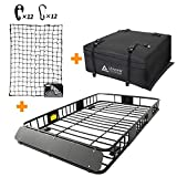 Leader Accessories Roof Rack Cargo Basket Set, Car Top Luggage Holder 64'x 39'x 6' + Waterproof Rooftop Cargo Carrier Bag + 3' x 4' Super Duty Bungee Cargo Net Stretches to 6' x 8'