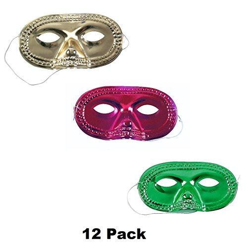 Metallic Mardi Gras Half Mask - Kid Fun Metallic Half-Masks (12 PACK) Mardi Gras Eye Masks