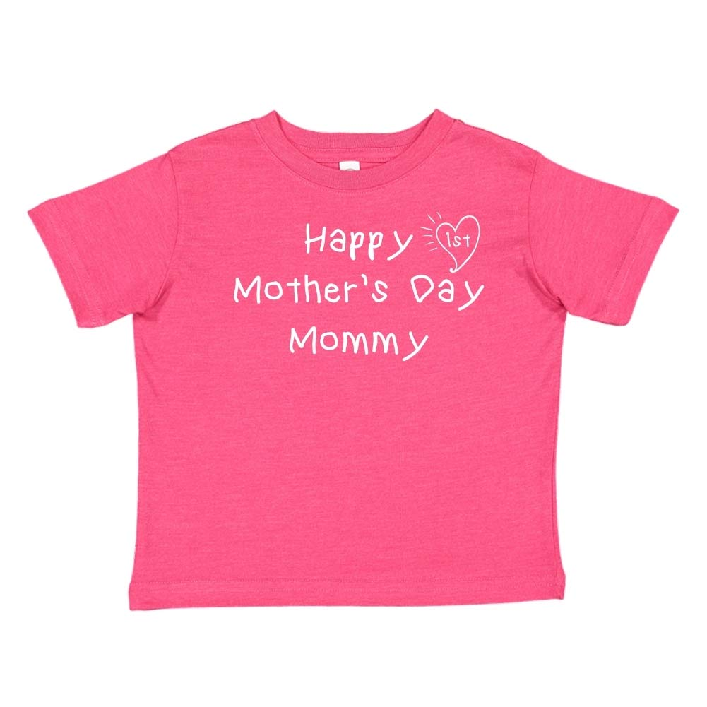 Kids Handwriting Toddler//Kids Short Sleeve T-Shirt Happy 1st Mothers Day Mommy