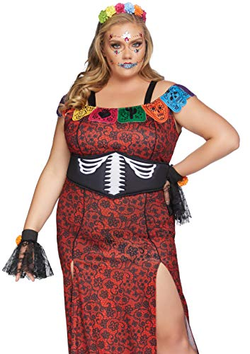 Leg Avenue Women's Plus Size 4 Pc Deluxe Day of The Dead Beauty Costume, Multi, 3X-4X -