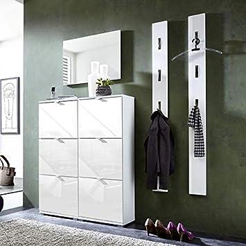 Amazonde Garderoben Set Hochglanz Weiß Schuhschrank Wandpaneele