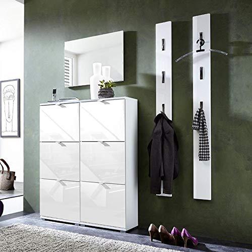 Amazon De Garderoben Set Hochglanz Weiß Schuhschrank Wandpaneele