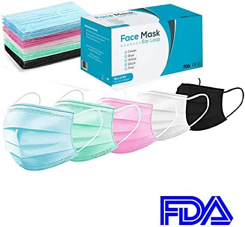 Surgical Face Mask - 50 - Disposable Masks for Medical Procedure, Dust Mask, Flu Protection, Allergy and Pollen