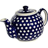 "Polish Pottery Teapot From Zaklady Ceramiczne Boleslawiec #596-42, Height: 5.6"" Capacity: 0.9 Qt."