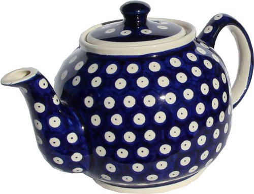 "Polish Pottery Teapot From Zaklady Ceramiczne Boleslawiec #596-42, Height: 5.6"" Capacity: 0.9 Qt."