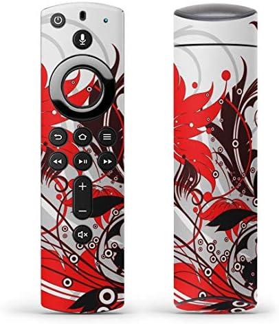 igsticker Fire TV Stick 第2世代 専用 リモコン用 全面 スキンシール フル 背面 側面 正面 ステッカー ケース 保護シール 007631 クール 花 フラワー 赤 レッド