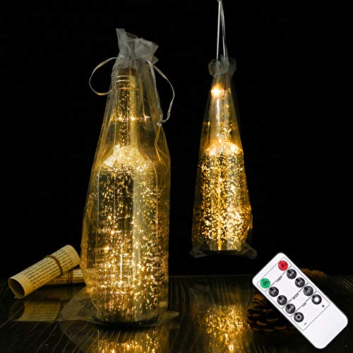 LOGUIDE Wine Bottle Lights,Bottle Lights with Hanging Bag,20 LED Wine Bottle Lights Battery Powered with Timer & Remote Control for Wedding,Party,Outdoor,Home Decor(Set of 2)