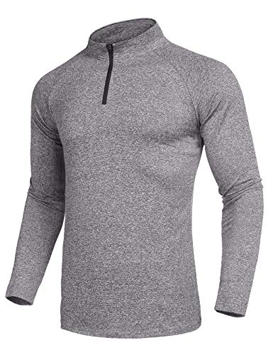 COOFANDY Men 1/4 Zip Base Layer Fit Sports T-Shirts Jersey Pullover Shirt Spring