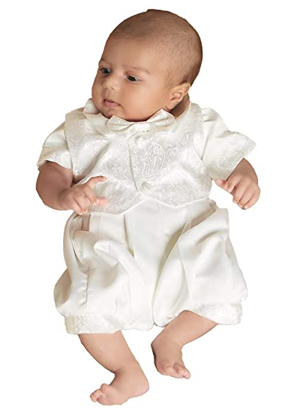 8038402b3da1 ShineGown Christening Outfits for Baby Boys Baptism Gown White Ivory 3Pcs Short  Sleeves with Bonnet and Waistcoat  Amazon.co.uk  Clothing