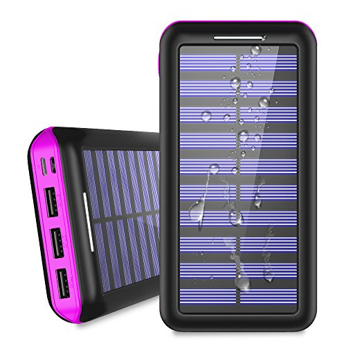 Battery Pack 24000mAh Solar Charger, ALLSOLAR Power Bank Portable Battery Charger with 2 Input & 3 Output, iSmart 2.0 Tech Fast Charging for iPhone, iPad, Samsung Galaxy and More - Purple