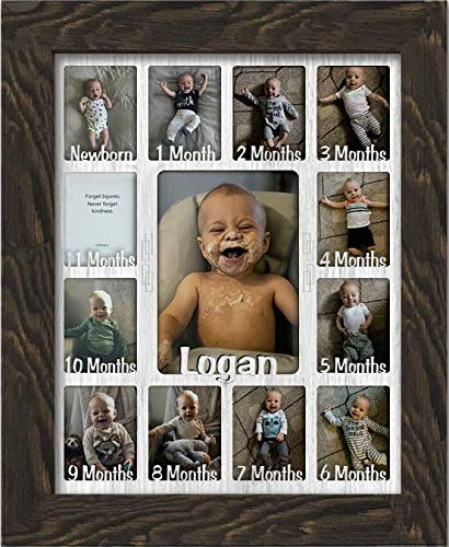 Northland Baby First Year Personalized Frame - Holds Twelve 2.5'' x 3.5'' Newborn Photos and 5'' x 7'' One Year Picture, Barnwood Espresso Frame, White Insert, Customizable with Any Name by Northland Frames