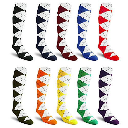 10-Pack, Over-the-Calf, Argyle Dress Socks, Golf Socks, Golf Knickers Socks From GolfKnickers by Golf Knickers