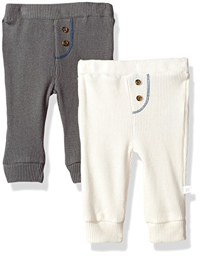 Rosie Pope Baby Boys 2 Pack Waffle Knit Pant, Gray/White, 0-3 Months