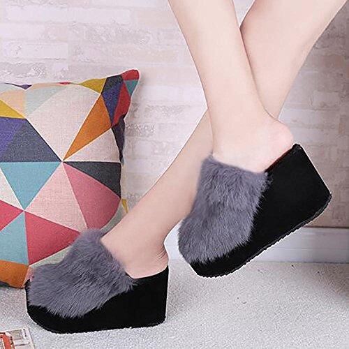à Pantoufles talons peluche Chaussures Chaussures femmes Maison SEX en 36 Chaussures Hiver hauts gris pour Automne 0qw8pdT