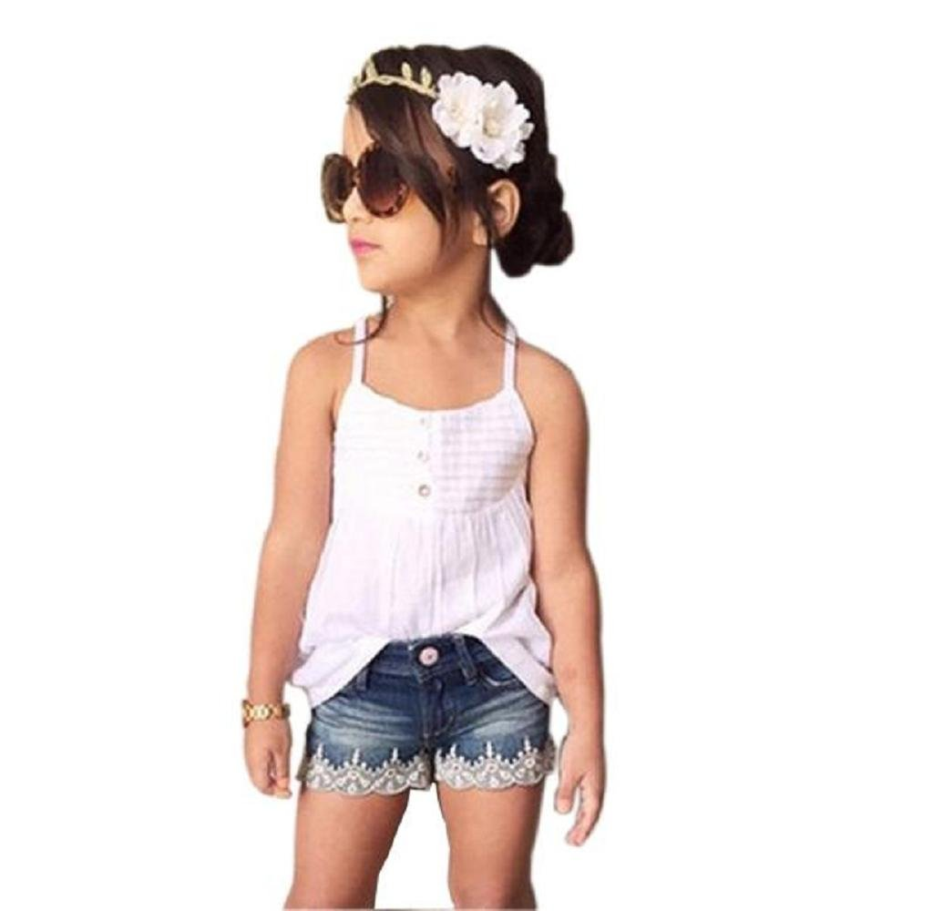 Zerototens Children 2Pcs Clothing Set for 2-9 Years Old Girl,Kids Baby Girls Outfits Suit White Tank Top T-Shirt Dress+Bull-Puncher Knickers Jeans Short Pants Clothes
