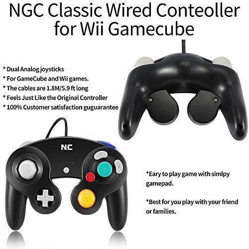 NC Gamecube Controller, adecuado para consola Wii y Nintendo Game Controller, driver con cable negro Gamepad Joystick., Juego de 1 pieza negro. 4