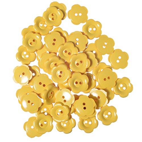 Nylon Daisy Shape Buttons - 2 Hole - Yellow