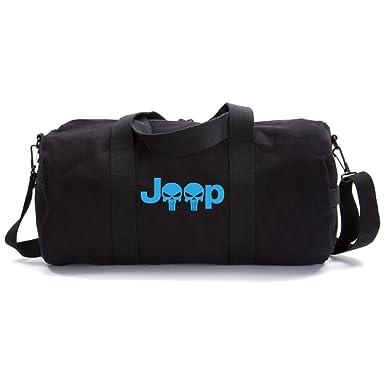 Jeep Wrangler Punisher Skull Heavyweight Canvas Duffel Bag in Black 8f195b093b4b0