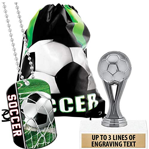 Crown Awards Soccer Goodie Bags, Soccer Favors for Soccer Themed Party Supplies Comes with Personalized Silver Kids Soccer Trophy, Soccer Dog Tag and Soccer Drawstring 20 Pack by Crown Awards (Image #4)