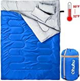 Ohuhu Double Sleeping Bag with 2 Pillows and a Carrying Bag for Camping, Backpacking, Hiking, Blue