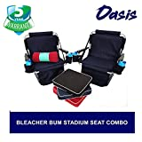 Super Heavy-Duty Bleacher Bum Deluxe Stadium Seat Combo - Portable & Easy to Carry - Two Chairs with Two Seat Cushions, Four Baseball Theme, Four Black Drink Holders & One Blanket - 5 Years Warranty