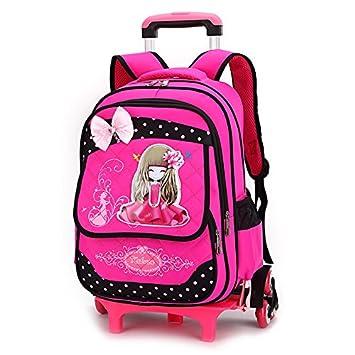 Nuevo MinegRong 2/6 ruedas niños caricatura mochilas escolares para niñas Moda Viajes bolsa trolley con ruedas mochila mochilas escolares Mochila,rosa roja ...