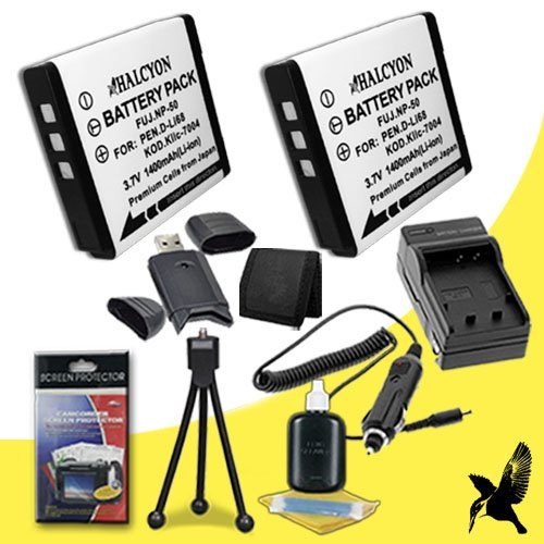 Two Halcyon 1400 mAH Lithium Ion Replacement KLIC-7004 Battery and Charger Kit + Memory Card Wallet + SDHC Card USB Reader + Deluxe Starter Kit for Kodak Easyshare V1253 12.1 MP Digital Camera and Kodak KLIC-7004 by Halcyon