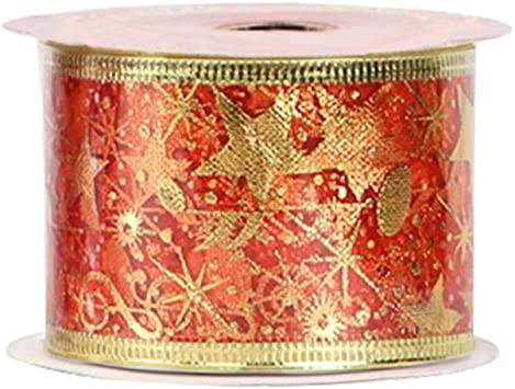 20-Yard 2-1//2-Inch Black Gold Gilded Ornaments Wired Christmas Ribbon