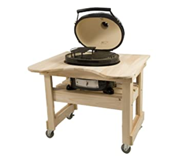 Amazing Primo 600 Cypress Wood Table For Primo Oval XL Grill, 4 Wheels