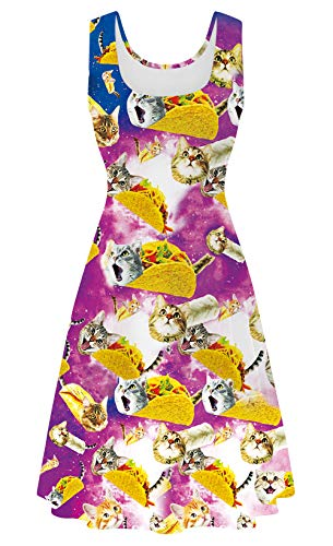 uideazone Women Ladies Pizza Cat Printed Sleeveless Tank Flare A-line Dresses Sundress for Casual Summer Party Beach