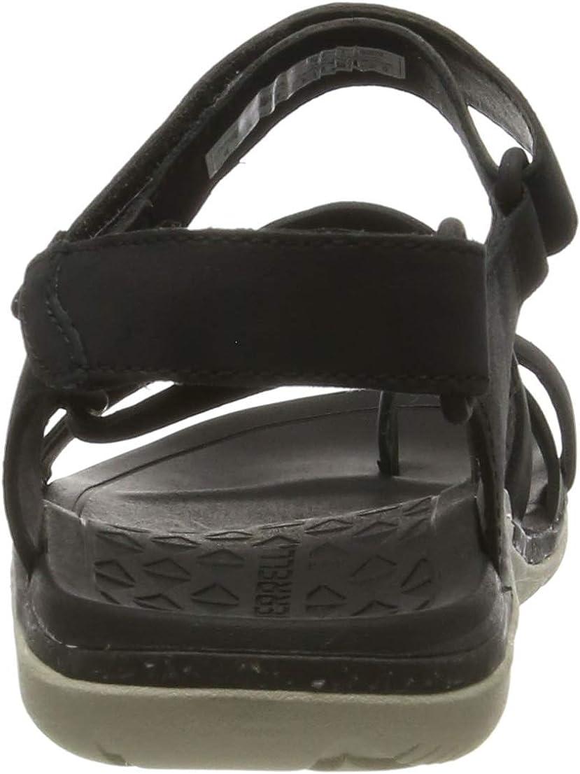 Merrell Damen Trailway Wrap Leather T-Spangen Sandalen Schwarz Black Black