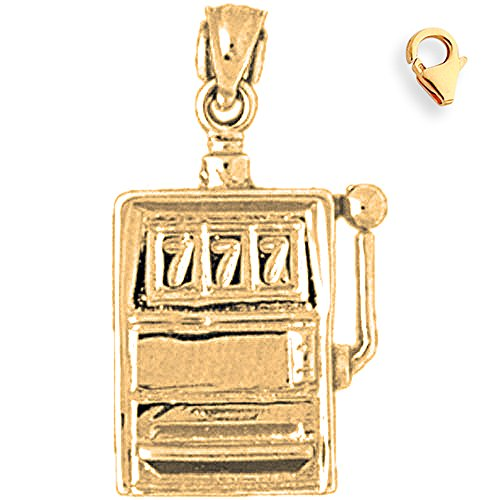 Jewels Obsession Slot Machine Charm | 14K Yellow Gold Slot Machine Charm Pendant - 26mm