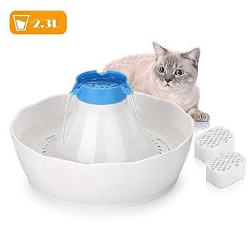 YAJAN-Gamelles Fuente de Agua para Perros/Gatos Fuente de Beber Alimentador automático de Agua de circulación Silencioso para Gatos y Perros tamaño 25 ...