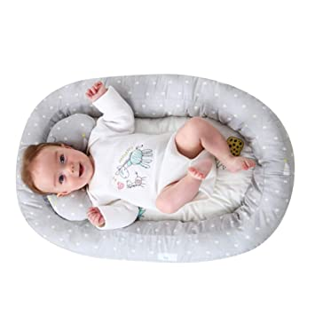 KAKIBLIN Baby Bassinet for Bed,Baby Lounger Bed Bassinet for Newborn Baby Portable Crib Grey Suitable for 0-8 Months