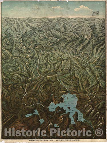 (Historic 1895 Map | Yellowstone National Park, Northern Pacific Railroad. 33in x 44in)