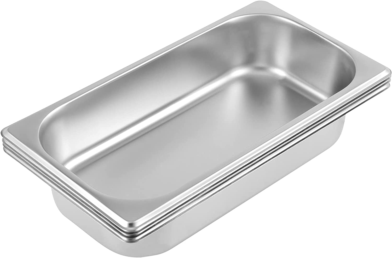 HAKZEON 4 Packs 13 x 10 x 4 Inches Stainless Steel Food Pan, Steam Table Water Pan, Catering Supplies Hotel Pans for Food Warmer, Buffet Server, Restaurants, Parties, Events, Silver