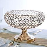 Efavormart 2 Pack 300 Acrylic Crystal beaded 9'' Gold Tabletop Candle Holder Bowl Flower Vase Event Centerpiece
